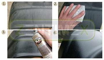 Kunststoff-Struktur-Lack Struktur-Farbe schwarz Strukturbeschichtung Lack-Spray Sprüh-Lack Sprüh-Farbe Auto-Lack Stoßstange Spoiler Stoßfänger Seitenleisten Außenspiegel Seitenspiegel-Gehäuse Stoßstangen-Lack Kunststoff-Lack schwarze Kunststoffteile Kunststoffelemente schadenbeständige Schutzschicht Abdeckung Oberflächenfehler PKW Motorrad Boot schnelltrocknend 0,4l BLACK SCHWARZ SPRAY -